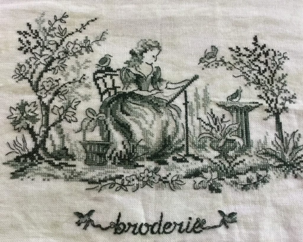 toile de Jouy Broderie Ginette L'Écuyer-Cattaneo